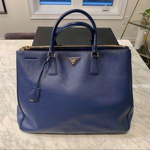 Prada Blue Saffiano Lux Tote Handbag Purse
